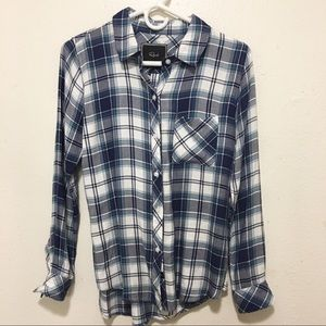 Rails Blue Plaid Button Front Lon-Sleeve Shirt XS